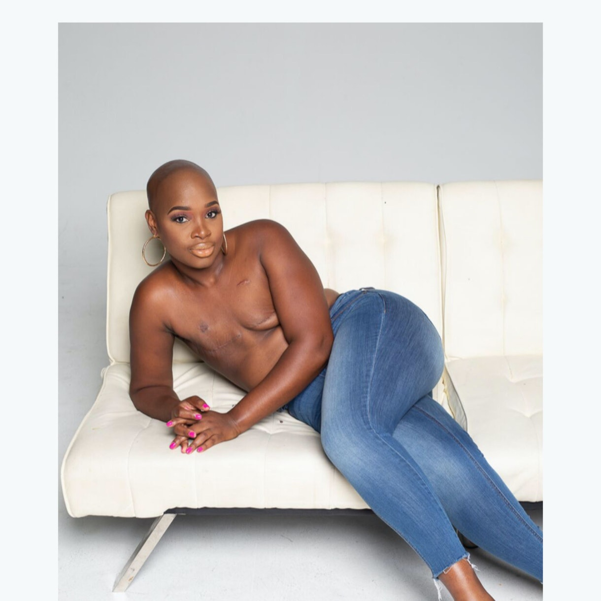 breast cancer awareness month confident african american woman double mastectomy scars