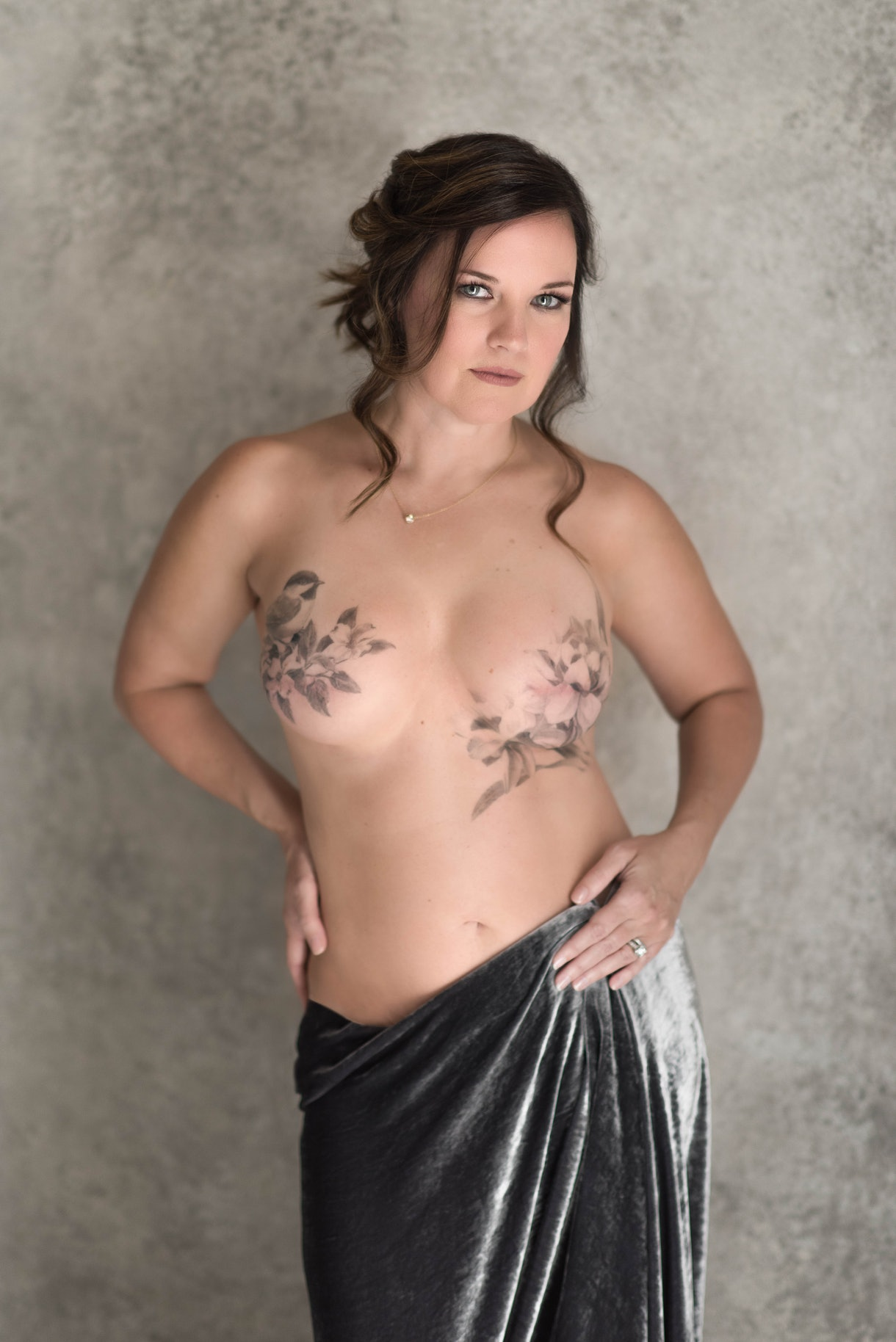 breast cancer awareness month confident caucasian woman double mastectomy scars tattoos