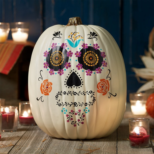 Day of the Dead Pumpkin Stencil Design DIY