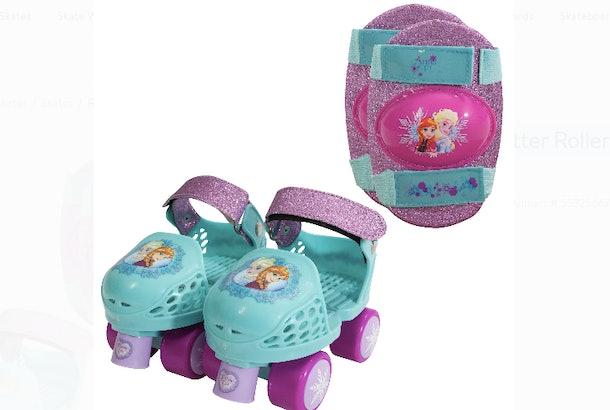 Walmart has Disney Frozen Kids Glitter Rollerskates with knee pads.
