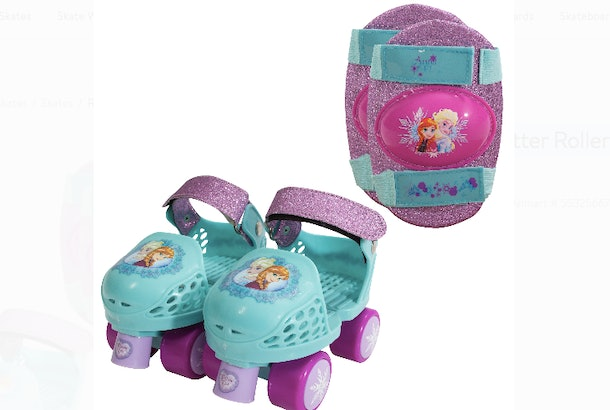Walmart has Disney Frozen Kids Glitter Rollerskates with knee pads.