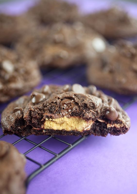 Things To Make With Leftover Halloween Candy, Peanut Butter Cup Stuffed Chocolate Chip Cookies