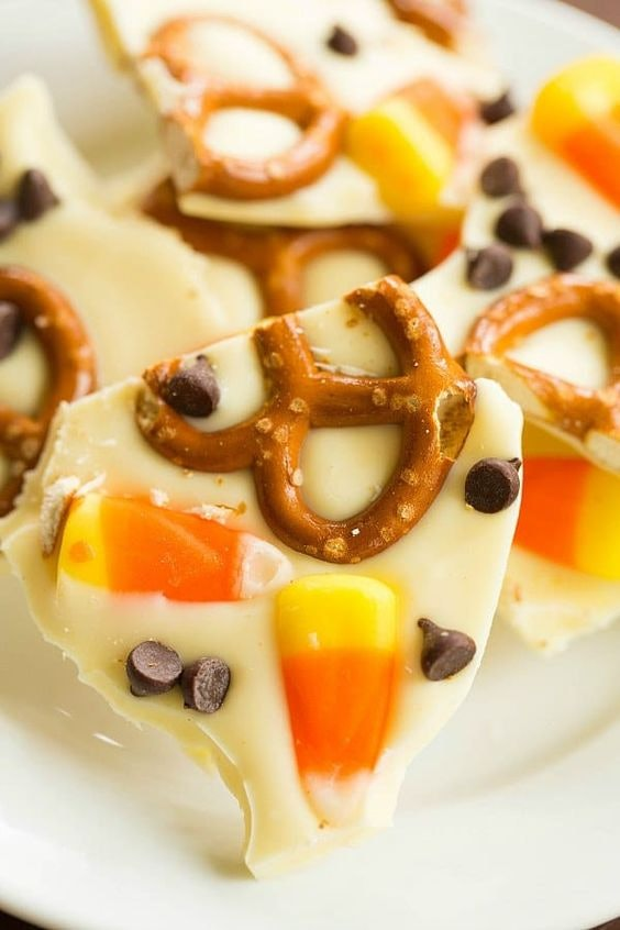 Things To Make With Leftover Halloween Candy, Candy Corn and Pretzel Chocolate Bark
