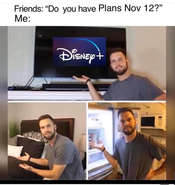 Funny Disney+ memes include describing what you'll be doing on Nov. 12.
