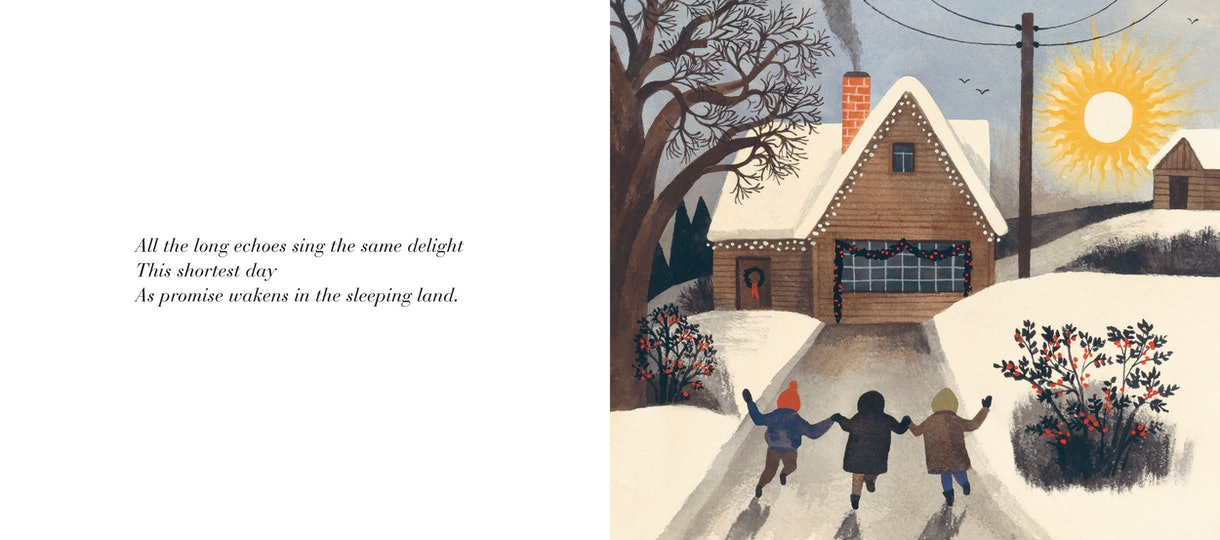 Children skip home in The Shortest Day by Susan Cooper, illustrated by Carson Ellis