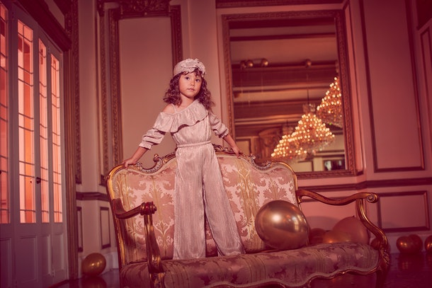 Child in turban and jumpsuit from Rachel zoe x janie & jack party collaboration