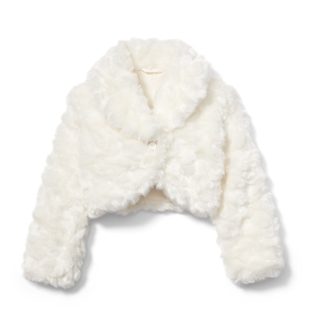 Cropped white faux fur jacket from Rachel zoe x janie and jack party collaboration