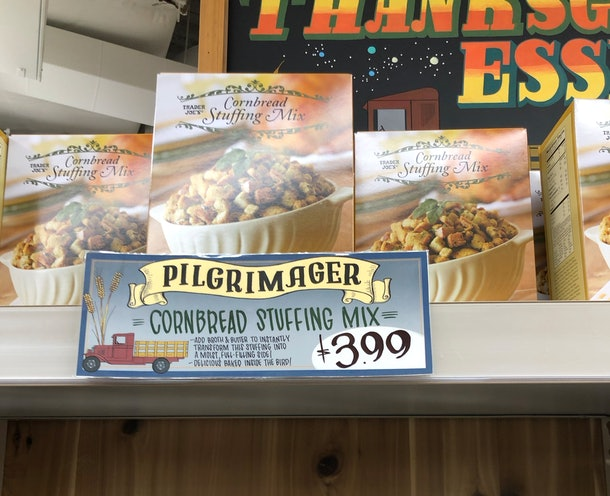 Boxes of cornbread stuffing mix on a shelf.