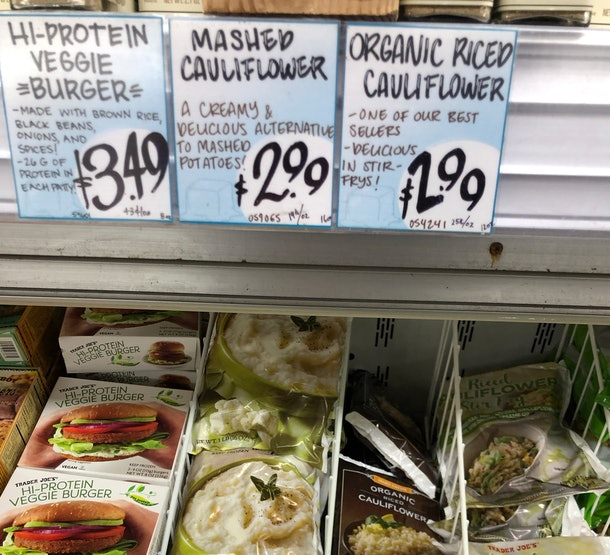 Mashed Cauliflower bags in the freezer section.