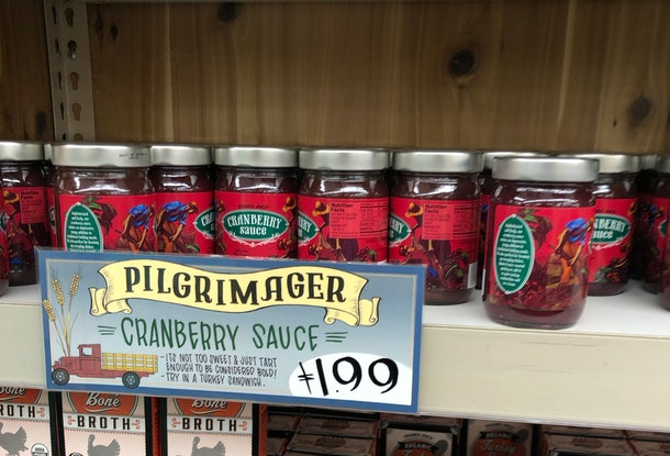 Bright red jarred cranberry sauce