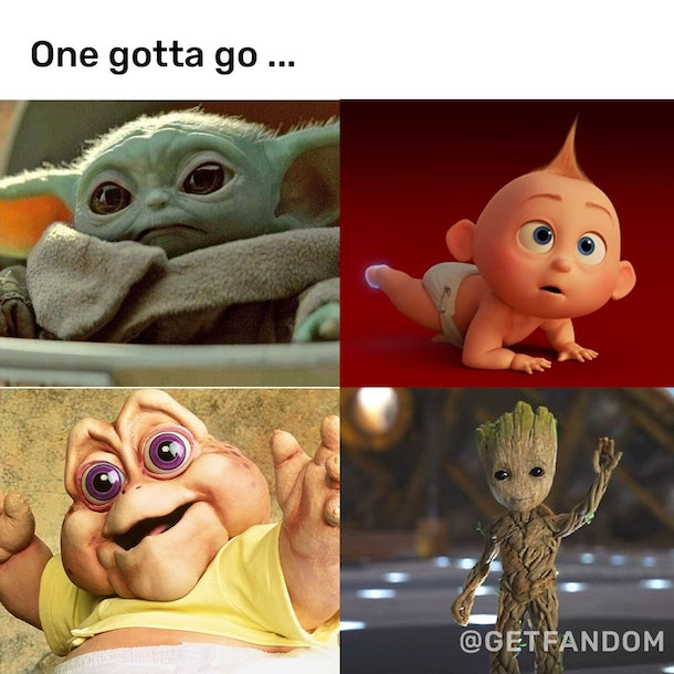"A picture of Baby Yoda, Jack Jack, The ""I'm the Baby Dinosaur,"" and mini Groot"