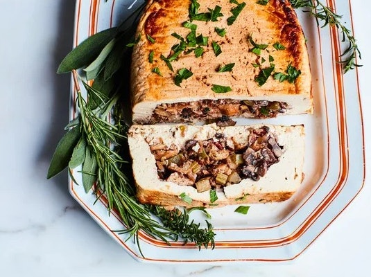 Vegan tofurky with mushroom stuffing and gravy recipe from Epicurious is a perfect, impressive holiday meal