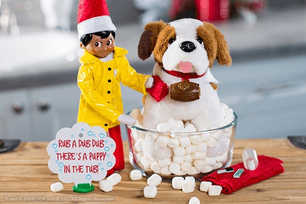 Elf on the shelf washes his pet st. bernard