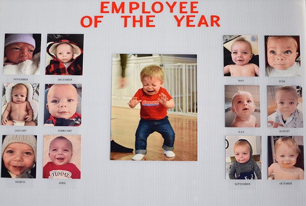 Mason's Employee of the Year board.