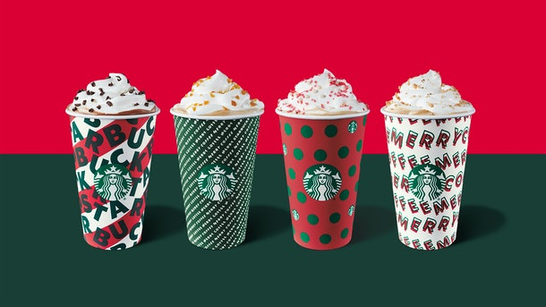 Starbucks holiday cups and beverages are available in stores beginning Nov. 7.