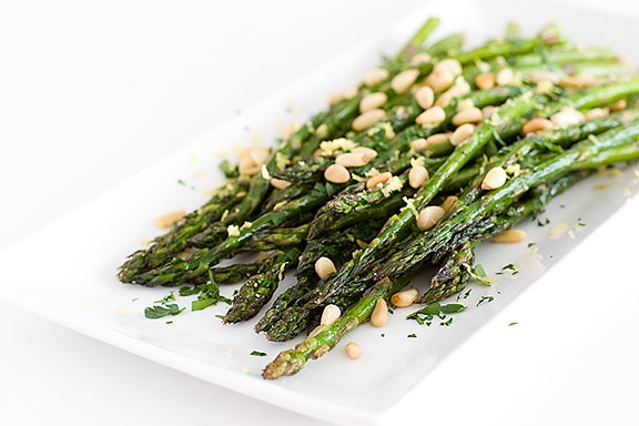sheet pan thanksgiving sides, roasted asparagus pine nuts