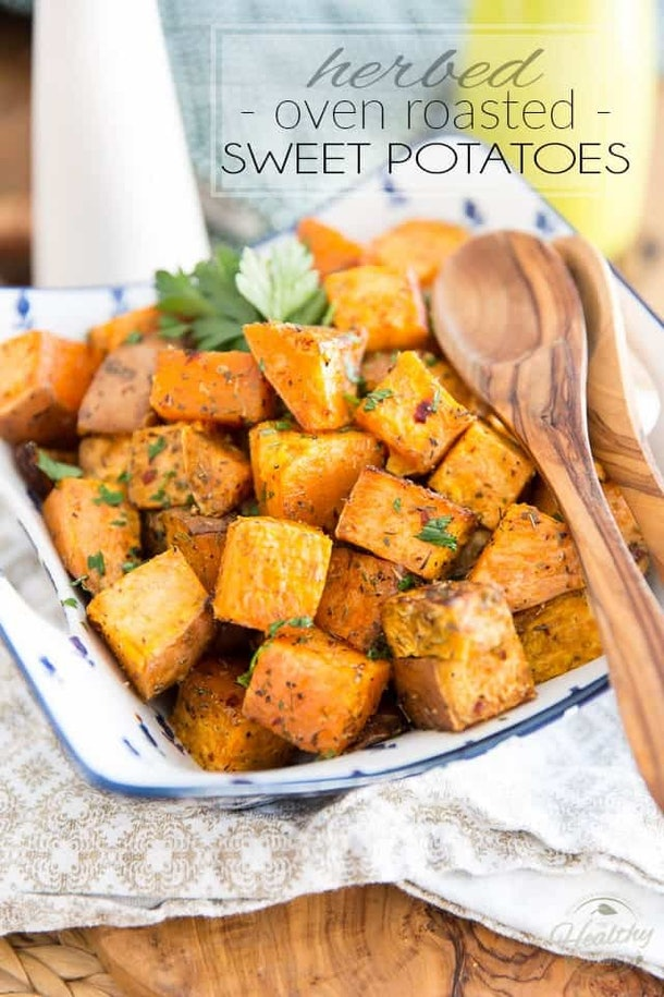 sheet pan thanksgiving sides, herb oven roasted sweet potatoes