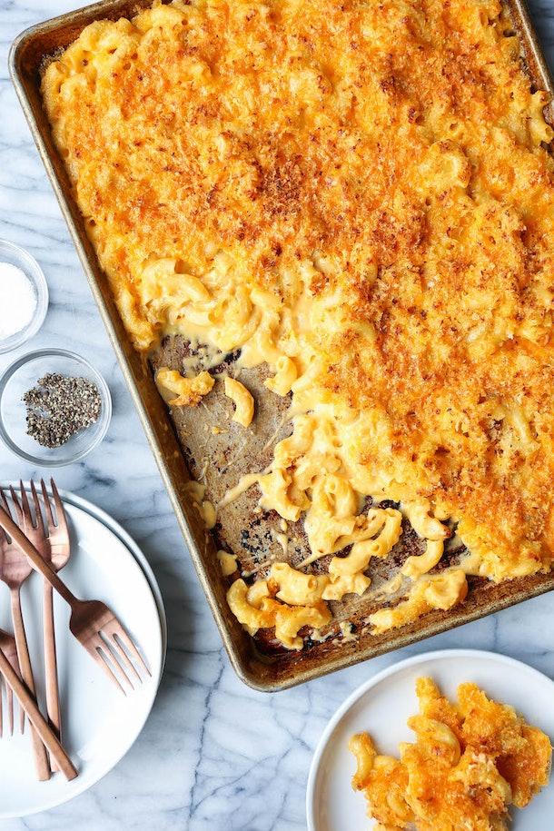 sheet pan thanksgiving sides, sheet pan macaroni and cheese