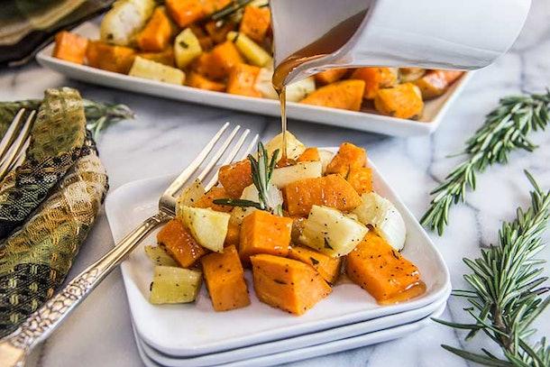 sheet pan thanksgiving sides, cider glaze roasted root vegetables