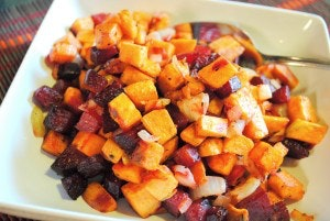 sheet pan thanksgiving side dishes, roasted beet and sweet potato hash