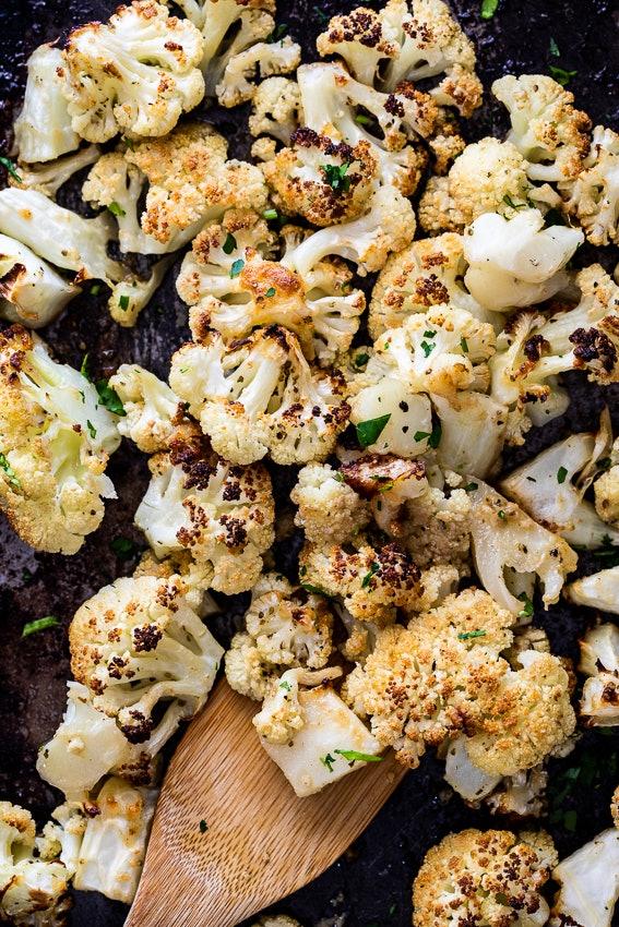sheet pan thanksgiving sides, roasted garlic parmesan cauliflower