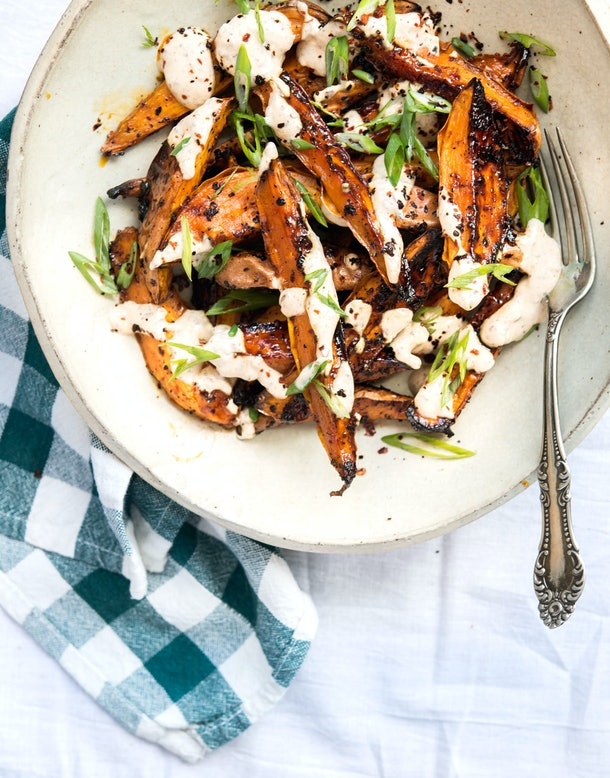 sheet pan thanksgiving sides, roasted sweet potatoes with chile lime yogurt