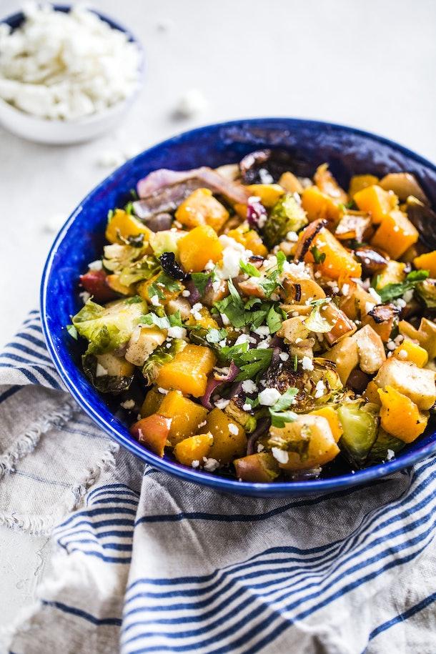 sheet pan thanksgiving sides, warm autumn salad