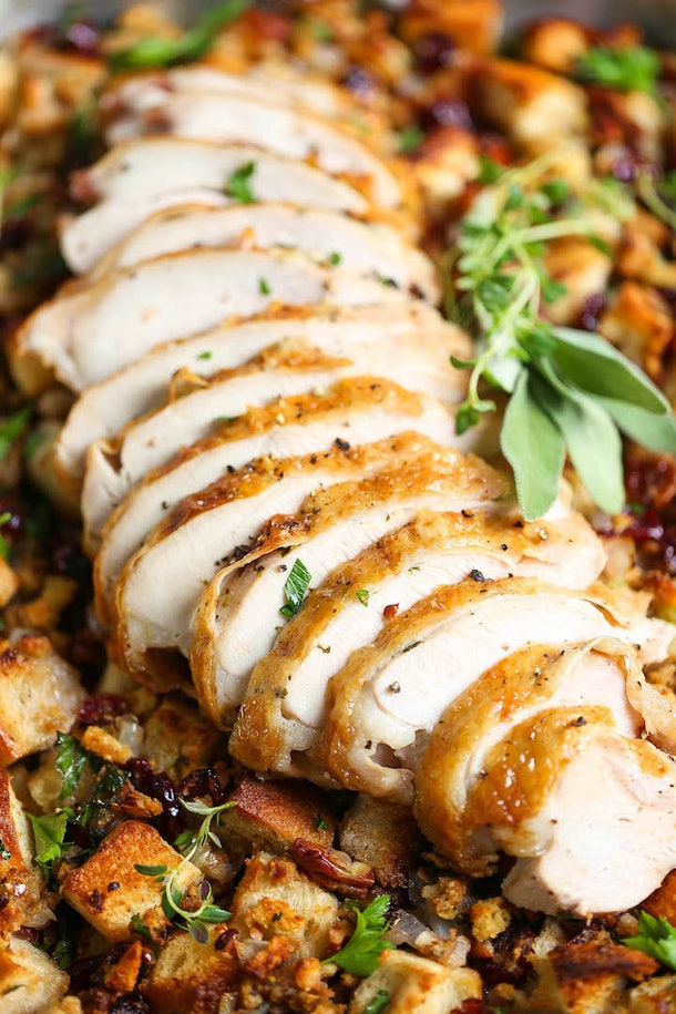 sheet pan herb roasted turkey with stuffing