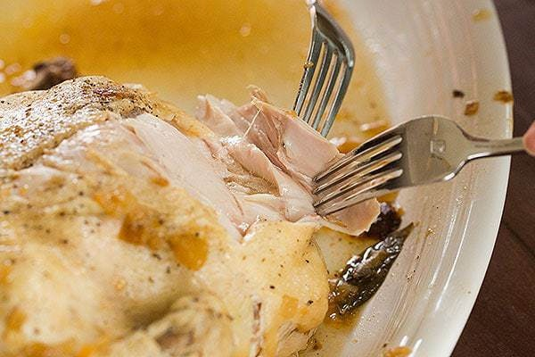 Close up of fork pulling apart roasted chicken on a plate