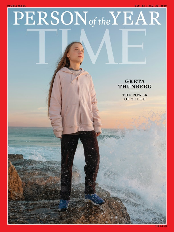 """The 2019 TIME """"person of the year"""" cover, featuring Greta Thunberg. TIME"""