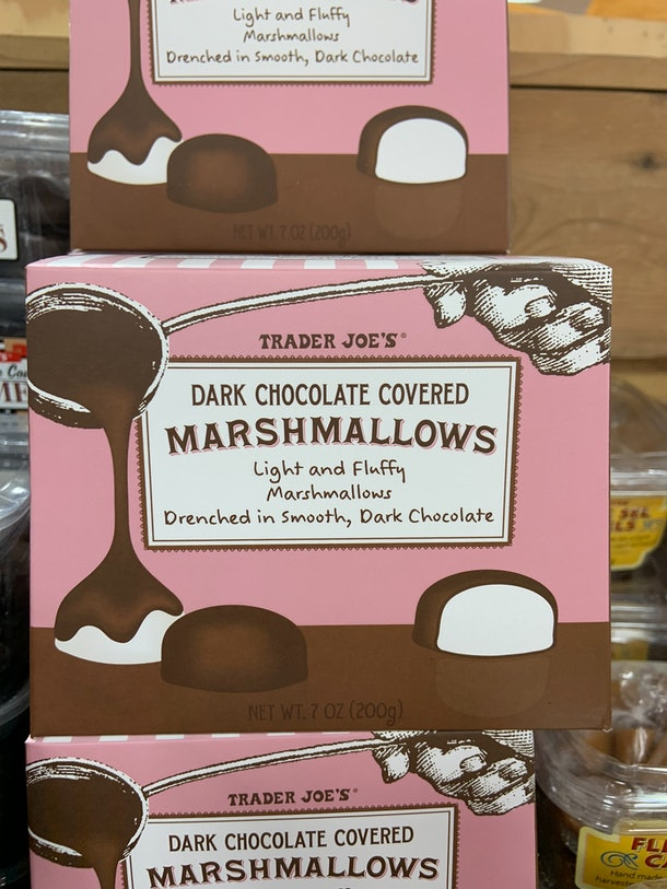 best trader joe's holiday desserts: dark chocolate marshmallow