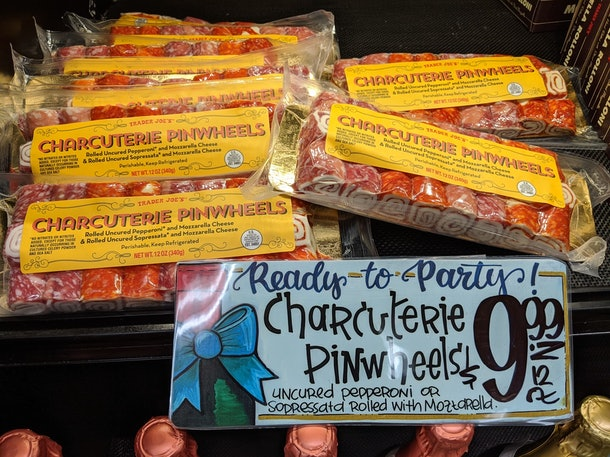 Trader Joe's display of packed, pre-made Charcuterie Pinwheels