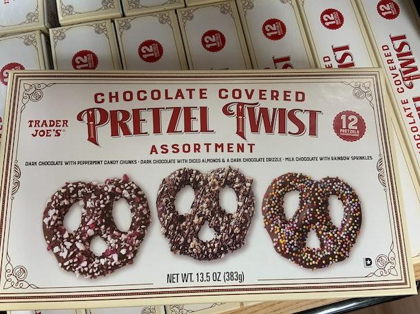 best trader joe's holiday desserts: chocolate covered pretzel twists