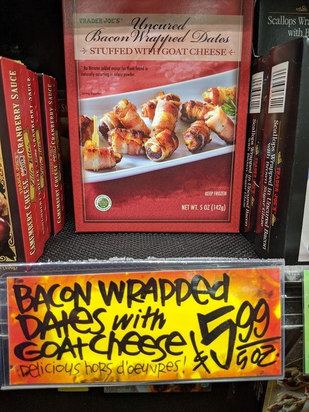 Trader Joe's display of packed, pre-made, frozen Bacon Wrapped Dates