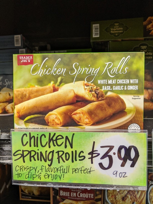 Trader Joe's display of packed, pre-made, frozen Chicken Spring Rolls