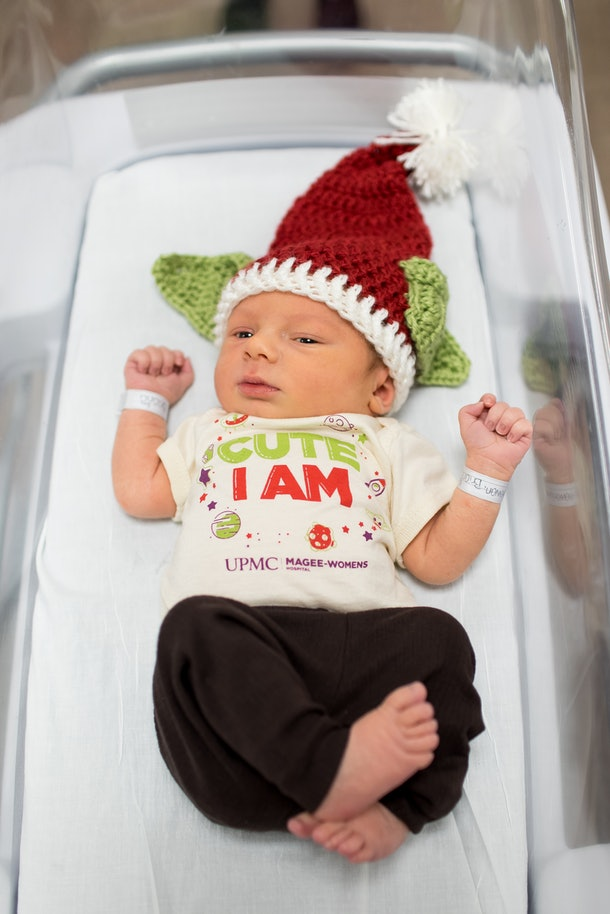 Hospital dressed newborn babies in Baby Yoda-inspired outfits
