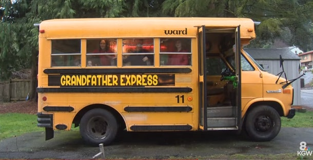 A grandfather bought a school bus to take his grandchildren to school every morning.