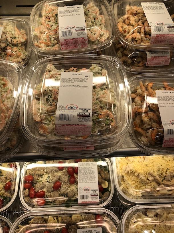 Platters of creamy shrimp salad.