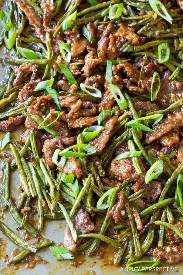 Take out loving families will enjoy gathering around this sheet pan Mongolian beef.