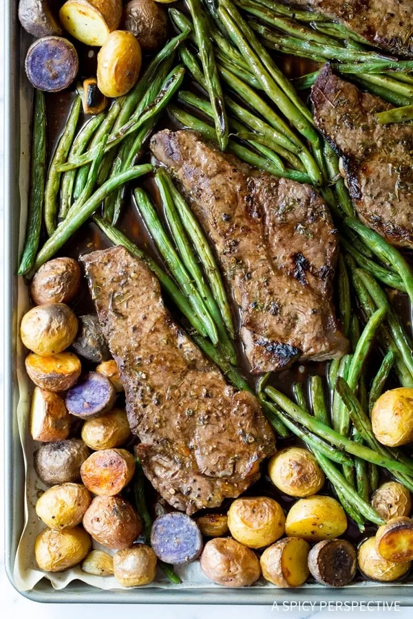 If your kiddo loves fajitas and steaks, this sheet pan recipe is an easy way to feed them a dinner they'll enjoy.