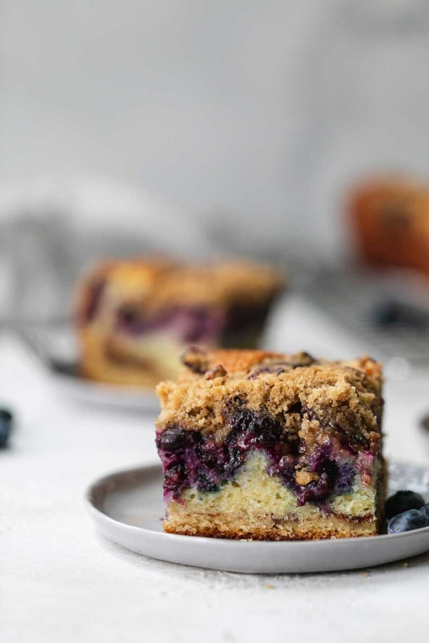 blueberry coffee cake on grey plate