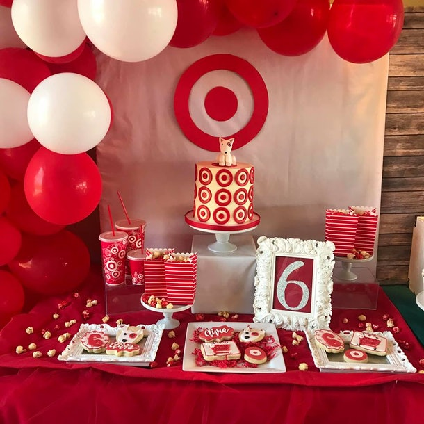 Astounding This Target Themed Birthday Party For A 6 Year Old Is Everything Personalised Birthday Cards Beptaeletsinfo