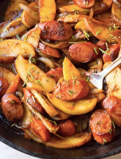 Apples add a sweet element to counter the savory sausage
