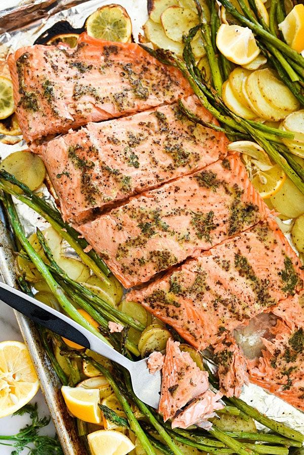 close up sheet pan mustard salmon with asparagus