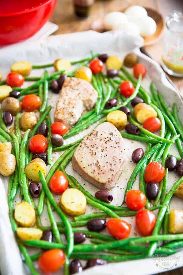 sheet pan nicoise salad close up
