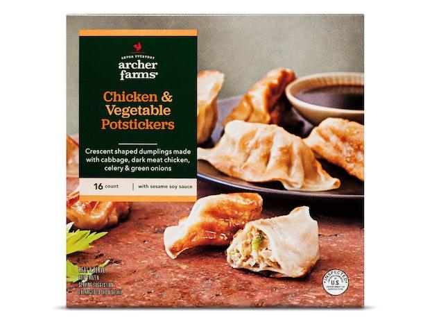 An image of a box of chicken potsticker dumplings.