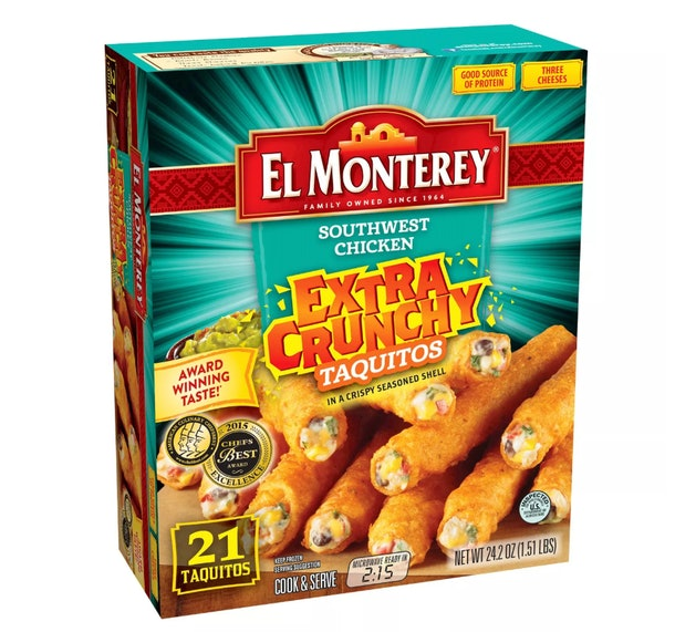 A box of twenty-one, cheese filled taquitos.