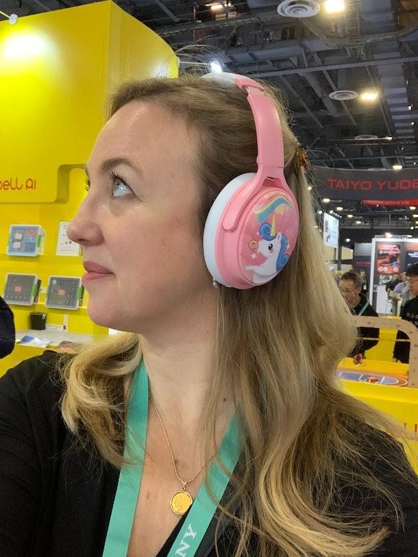 The unicorn Cosmos Headphones are a bright, happy bubblegum pink.