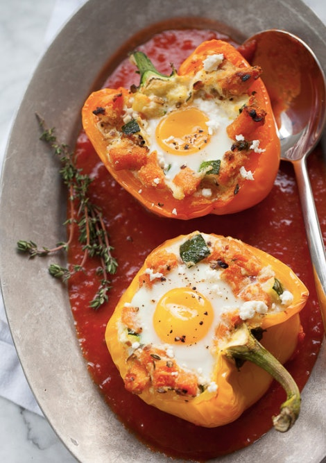 Stuff some peppers with squash, ricotta, feta, and eggs for an all-star breakfast