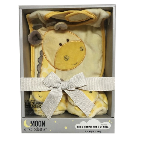 A sweet yellow giraffe bib and bootie set is available in the Walgreens Moon & Stars Collection.